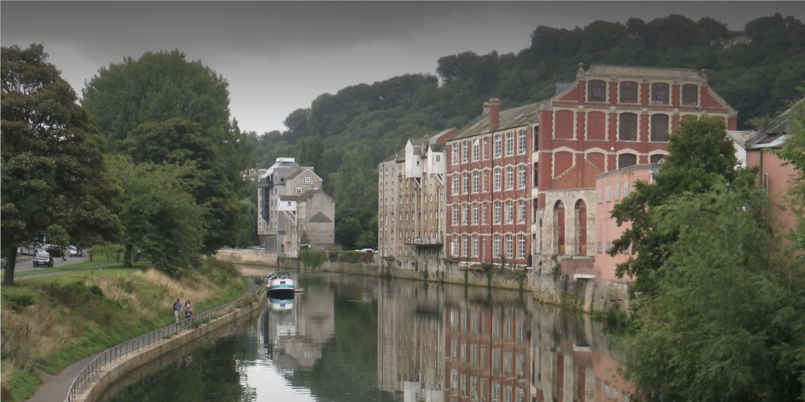 Historic buildings next to a canal