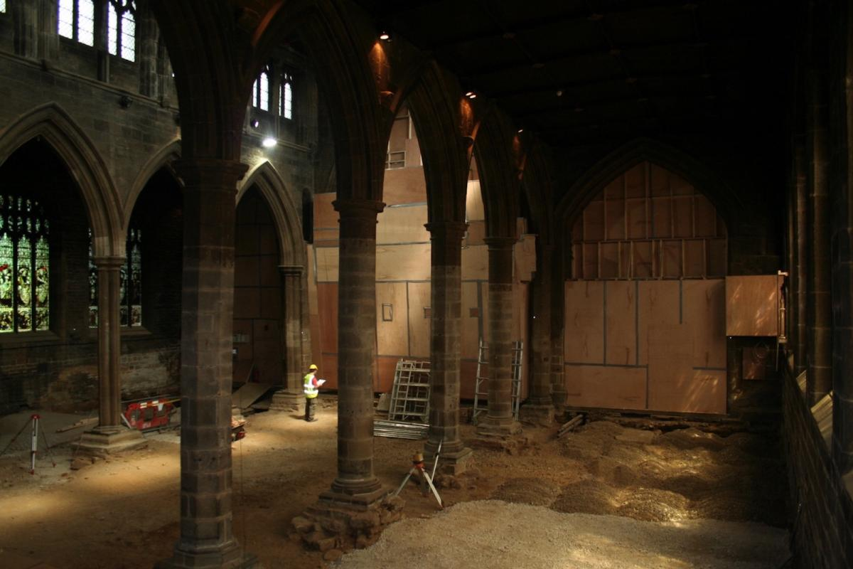 Excavation work inside Wakefield Cathedral