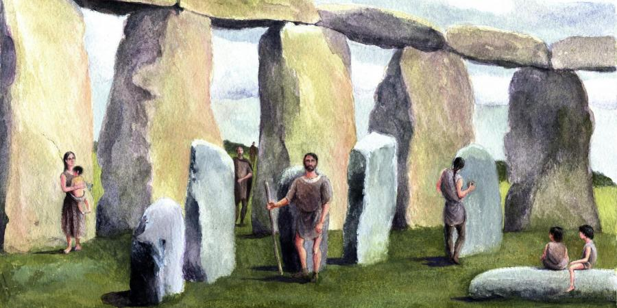 Reconstruction showing the Boscombe bowmen family at Stonehenge