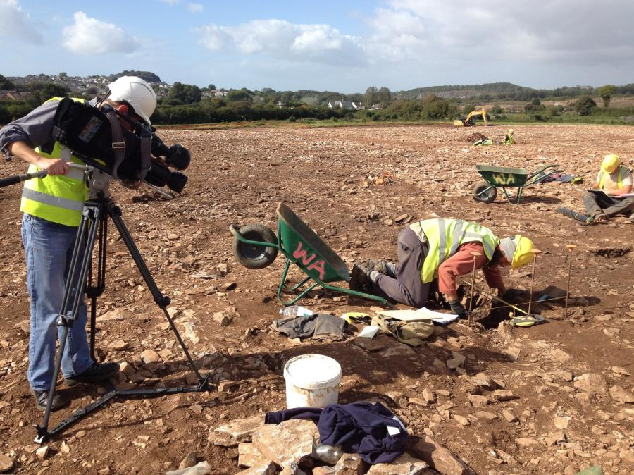 Filming an archaeologist at work