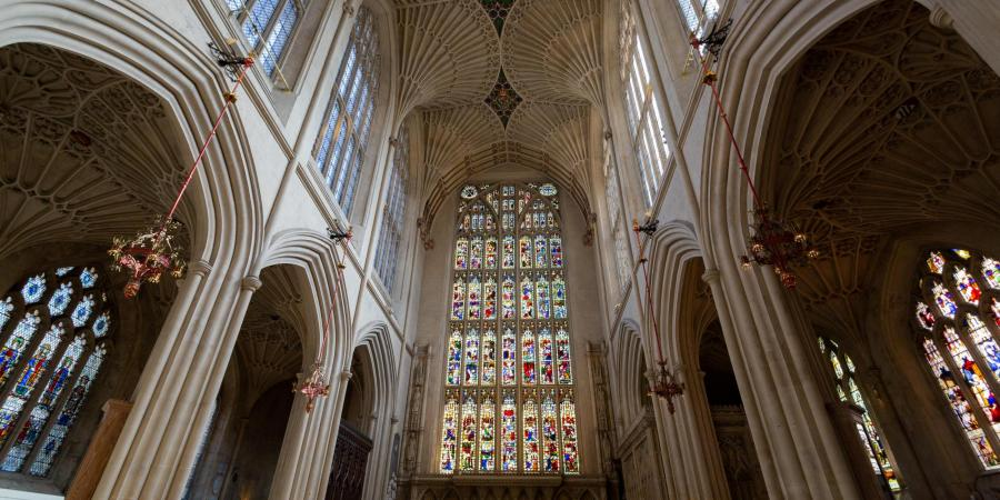 View of interior of Bath Abbey