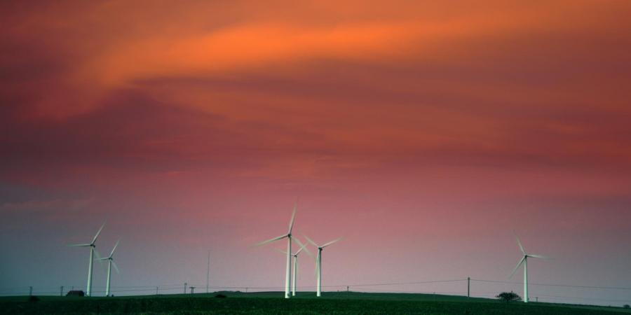 Sunset over wind turbines at Humber Gateway