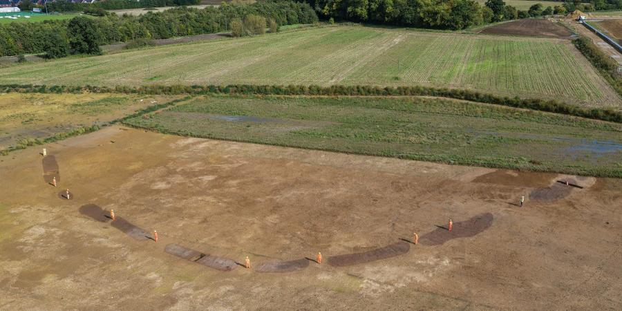 Aerial view of causewayed enclosure at datchet