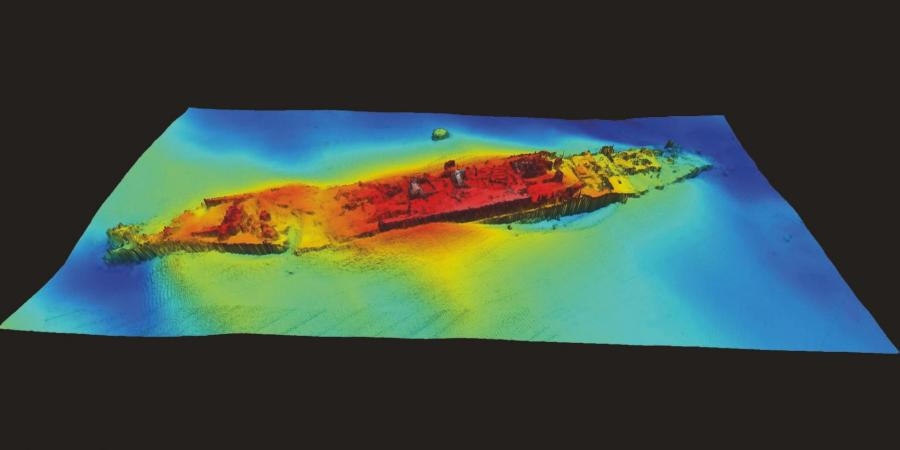 Bathymetric geophysics results showing the HMHS Anglia on the seabed