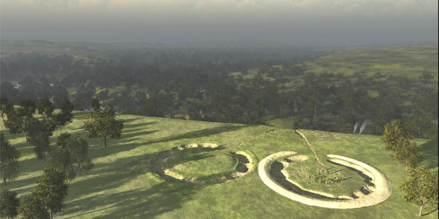 Reconstruction showing double henge monument found at Bulford