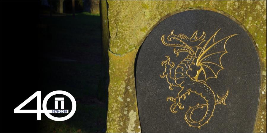 The Wyvern on a memorial stone on Dore village green