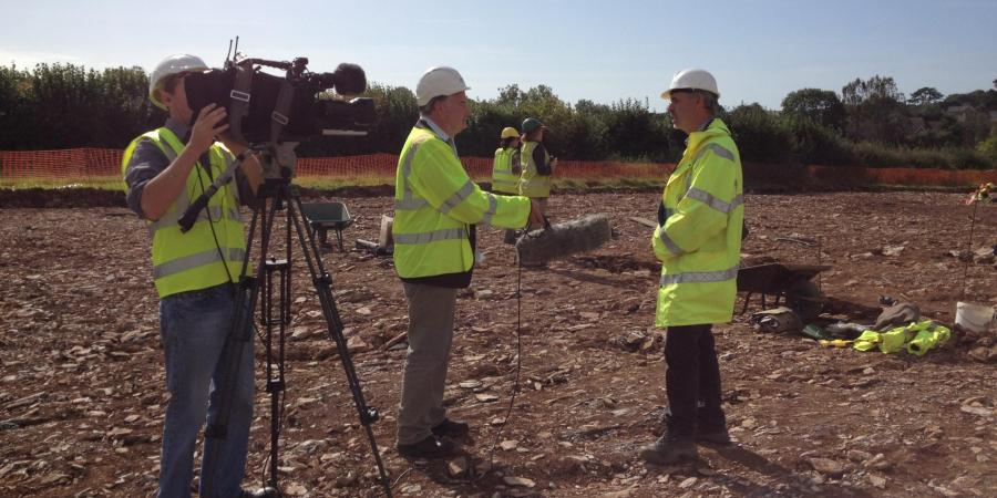 External news crew recording on site at Sherford