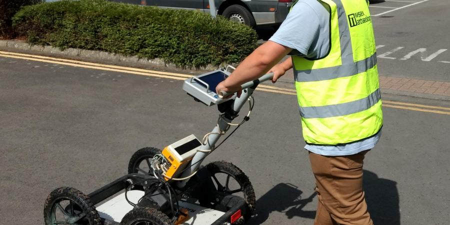Ground Penetrating Radar (GPR) equipment in operation