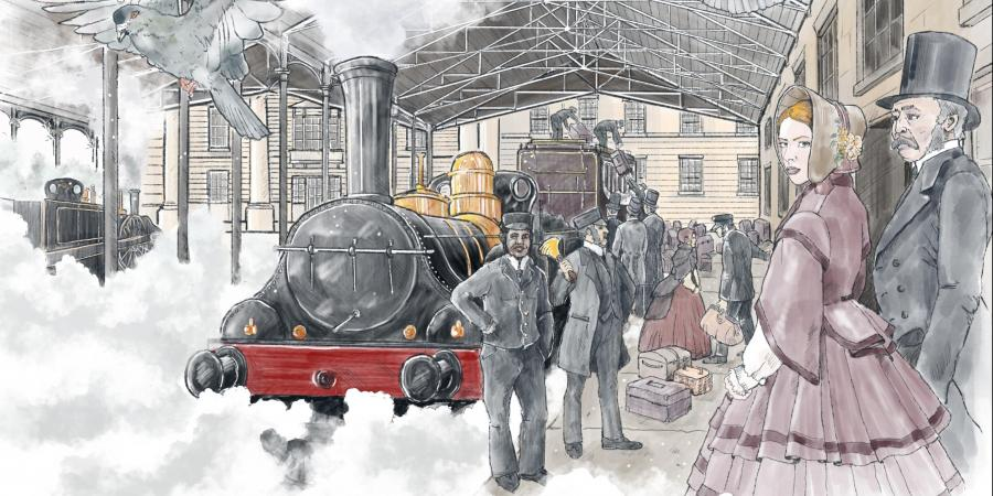 Reconstruction showing a visualisation of a Victorian railway station