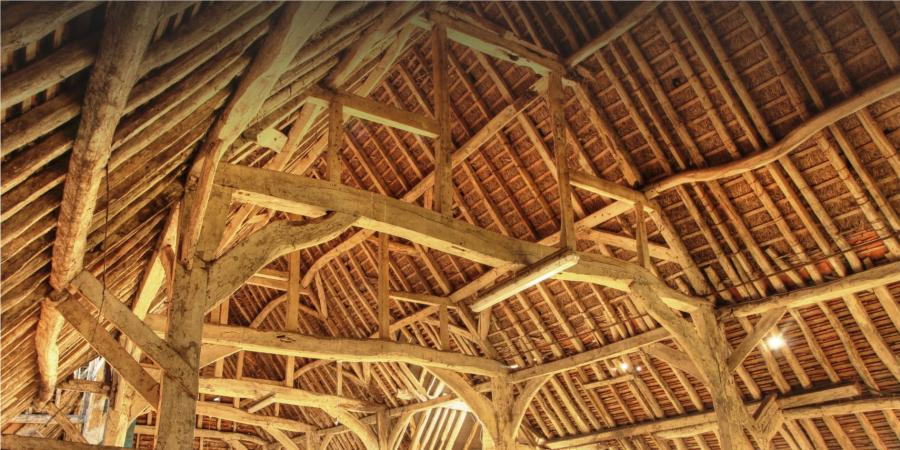 Complex roof timbers in a historic barn