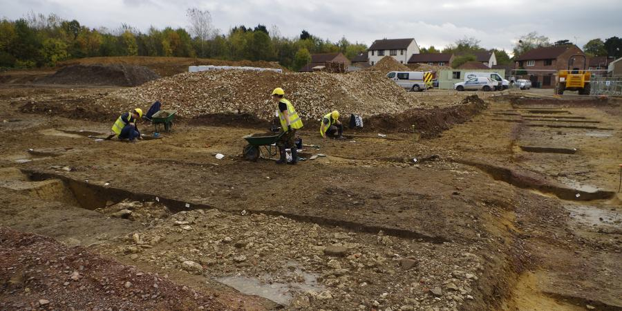 Archaeological excavation work at the Hucclecote Centre