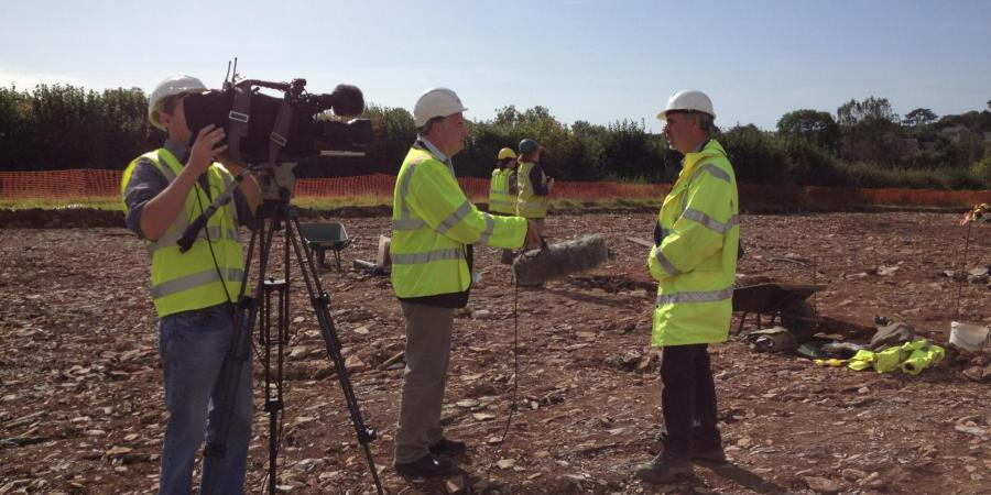 ITV press crew recording at Wessex Archaeology site, Sherford