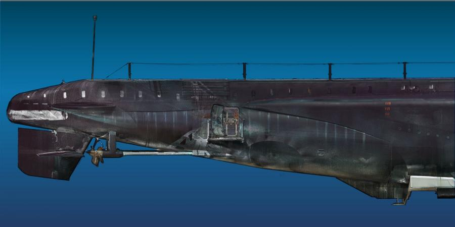 Laser scan image of a submarine