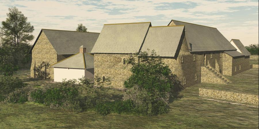 Reconstruction of Longforth medieval Manor house