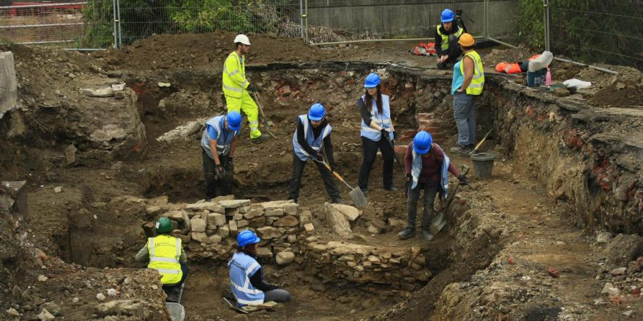 Staff and volunteers on site at Sheffield Castle