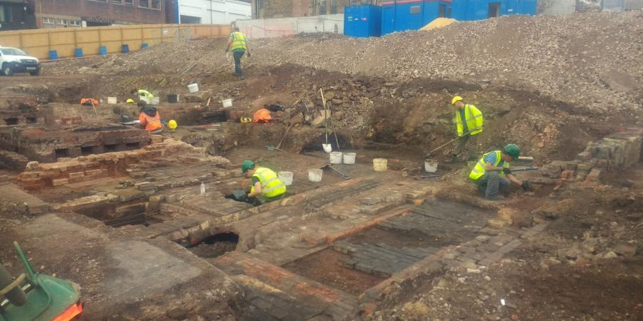 Archaeologists at work on the Hollis Croft site