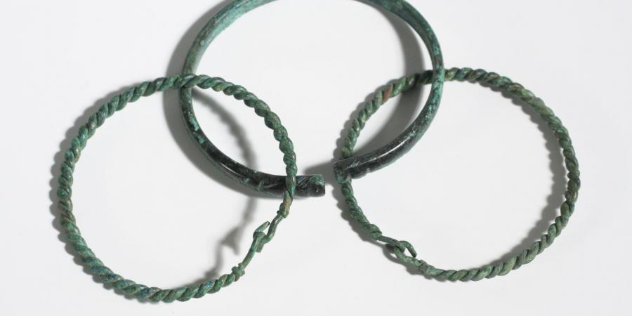 Three Romano-British copper alloy bracelets from Poundbury Farm