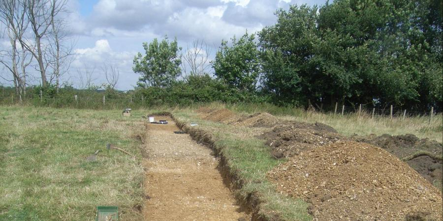 Evaluation trench at Norman Cross Camp, Cambridgeshire