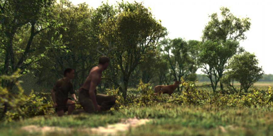 Hunting scene, reconstruction of a prehistoric landscape now below the seabed