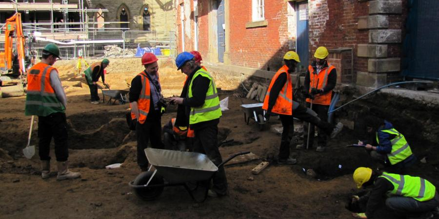 Archaeological excavation work at the Square Chapel Halifax