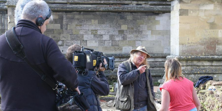 Phil Harding during Time Team recording at Salisbury Cathedral
