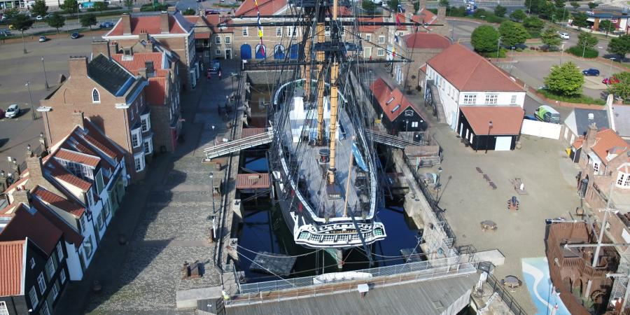 UAV footage of HMS Trincomalee