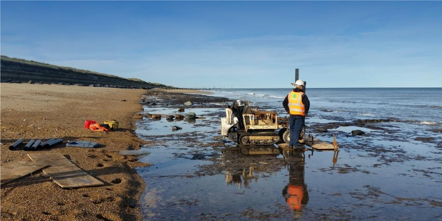 Borehole survey being undertaken on a foreshore