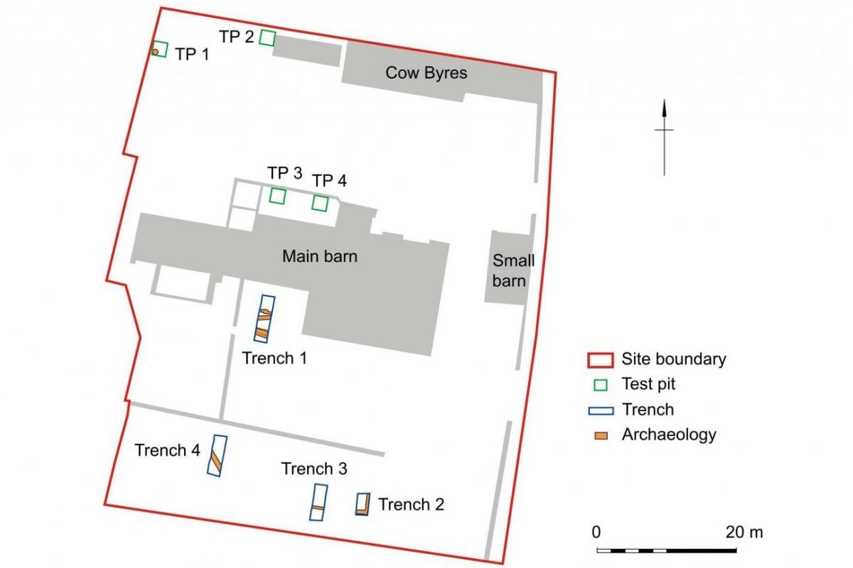 Site plan showing archaeological remains at Winterbourne