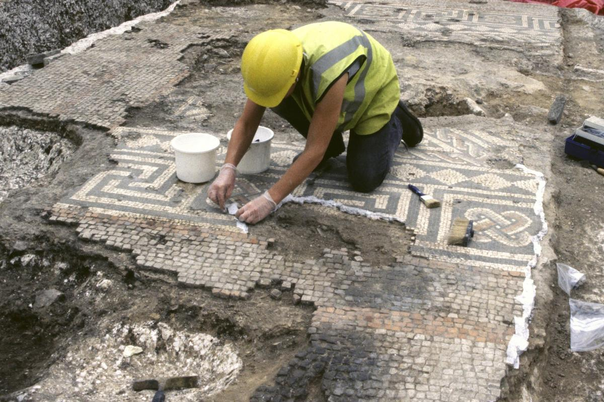 conserving a mosaic at Dorchester, former County Hospital