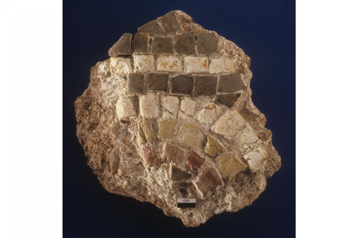 Roman mosaic fragment found during excavations at Charles Street, Dorchester