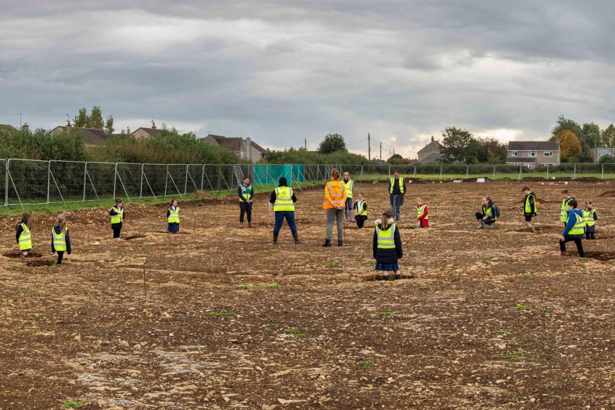 School children discover the site in Somerton