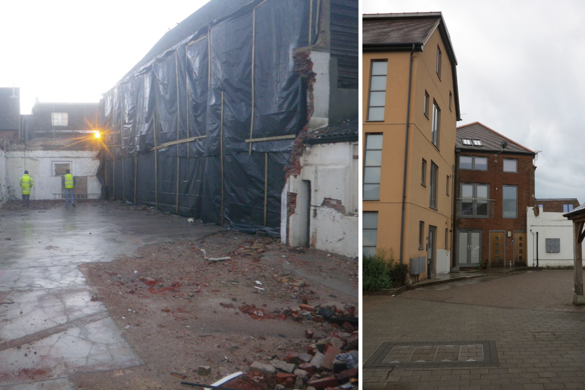 Before and after comparison of the site at Black Horse Chequer