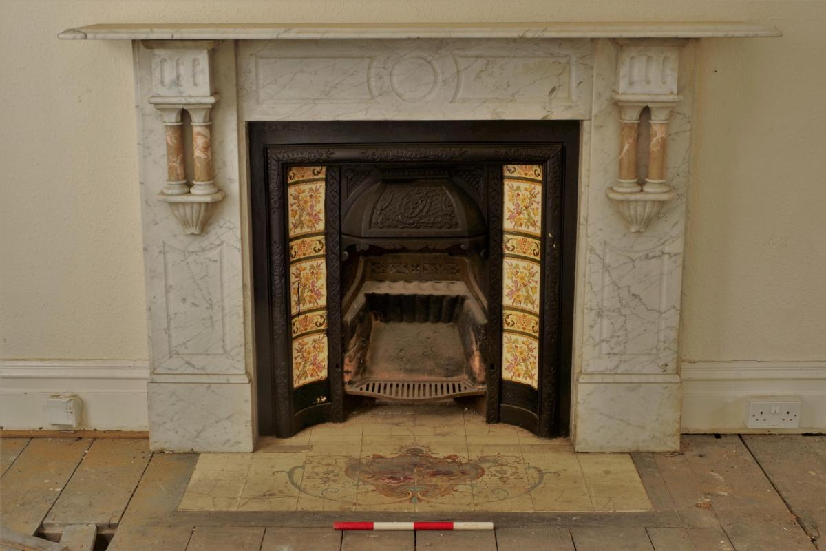 Marble fire surround in 8-9 Kingston Buildings