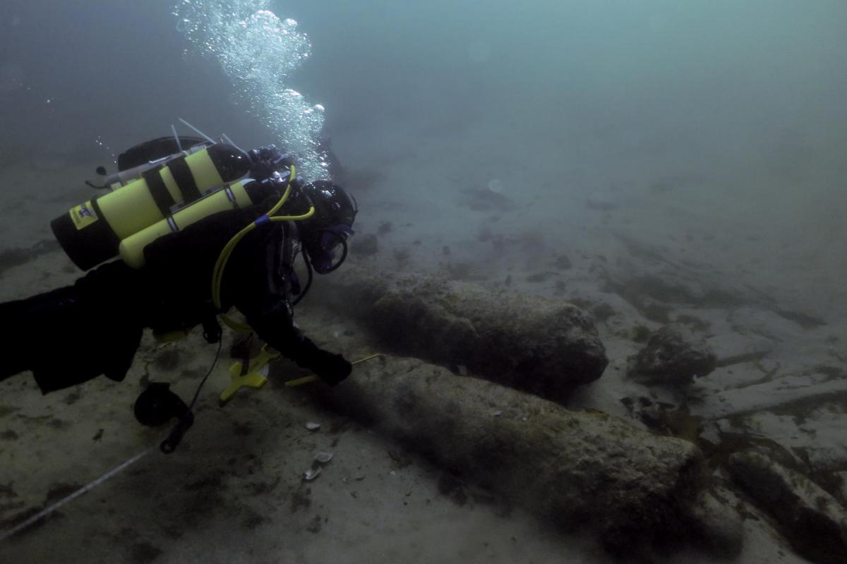 Canons being recorded underwater on the Drumbeg site