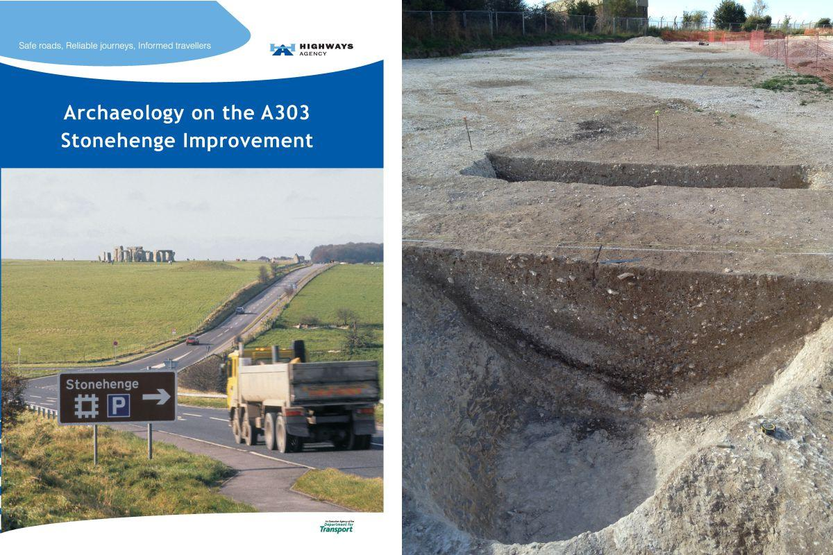 The front cover of Archaeology on the A303 Stonehenge improvement, and the causewayed enclosure at Larkhill