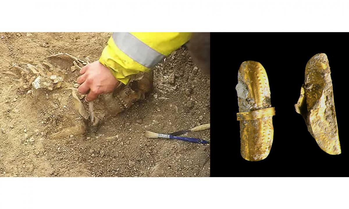 Skeleton under excavation and gold hair ornament from Amesbury Archer grave