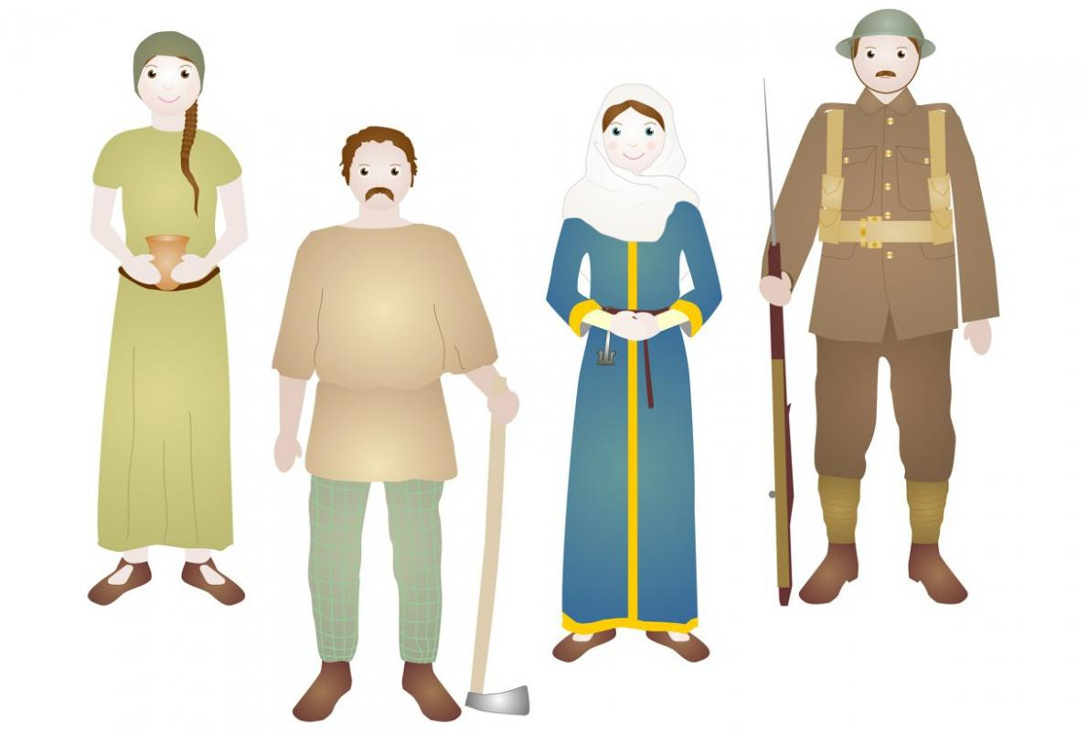 Cartoon characters of people from across the time periods