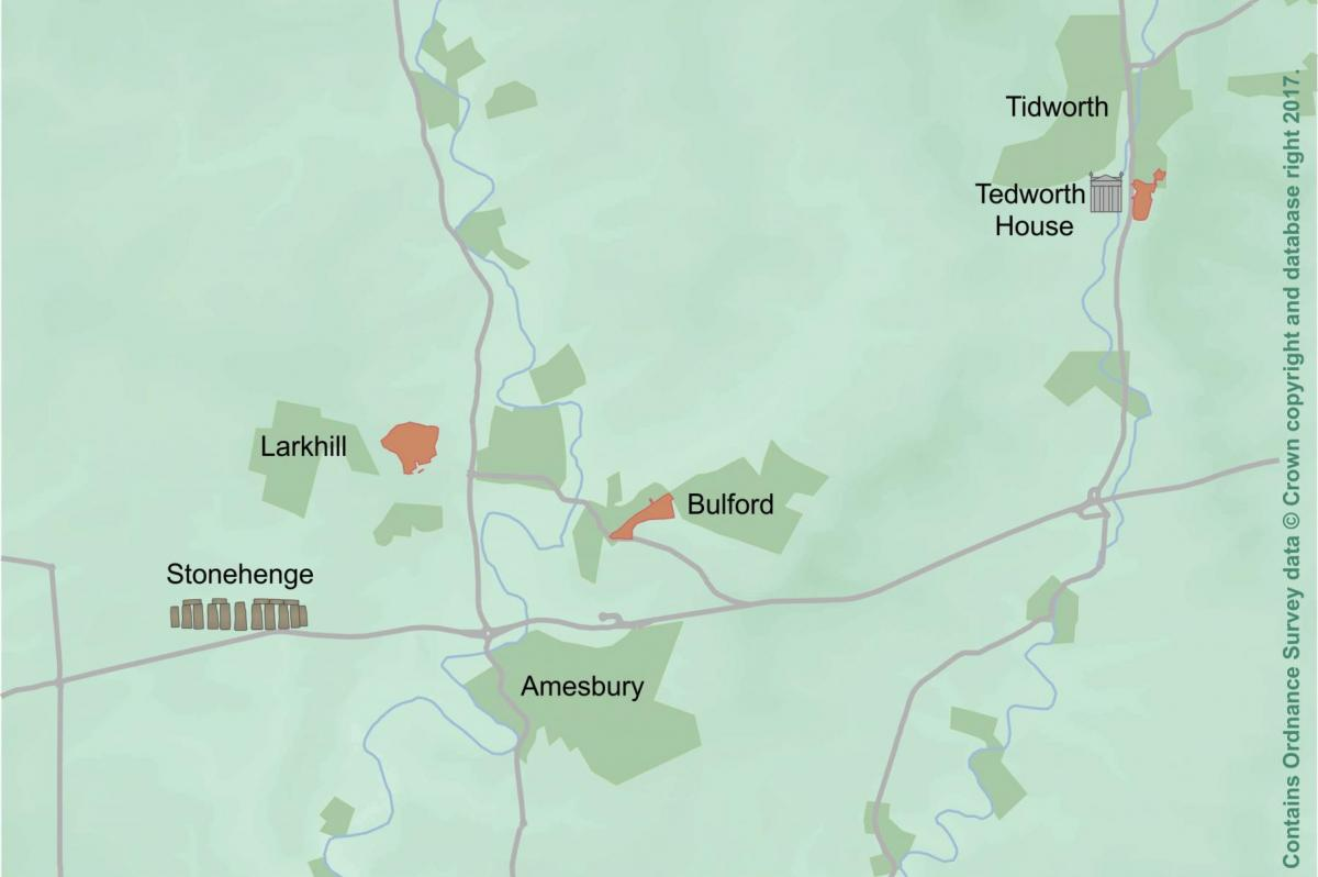 Map of Army Basing sites discussed around Stonehenge
