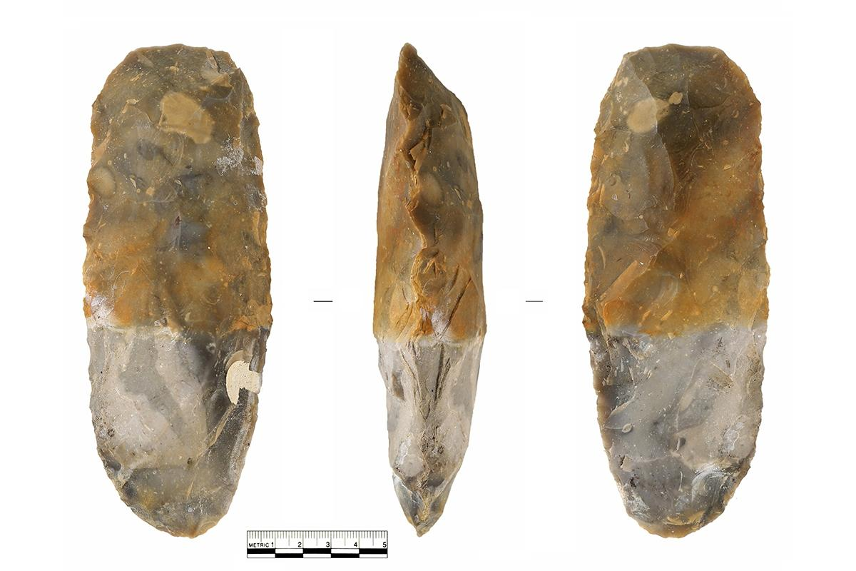 Phil Harding's flint Axe showing where flint has become stained