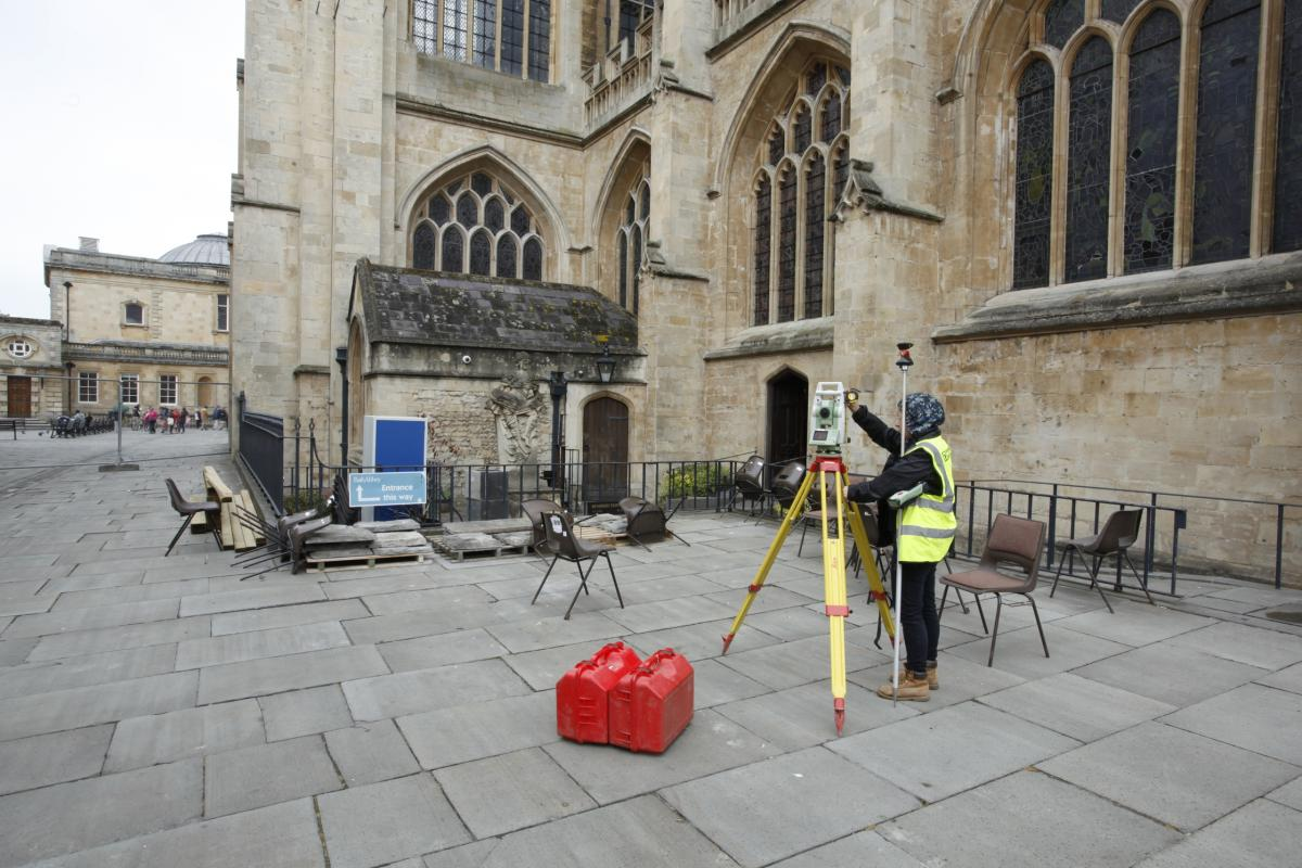 Survey work on the Bath Abbey