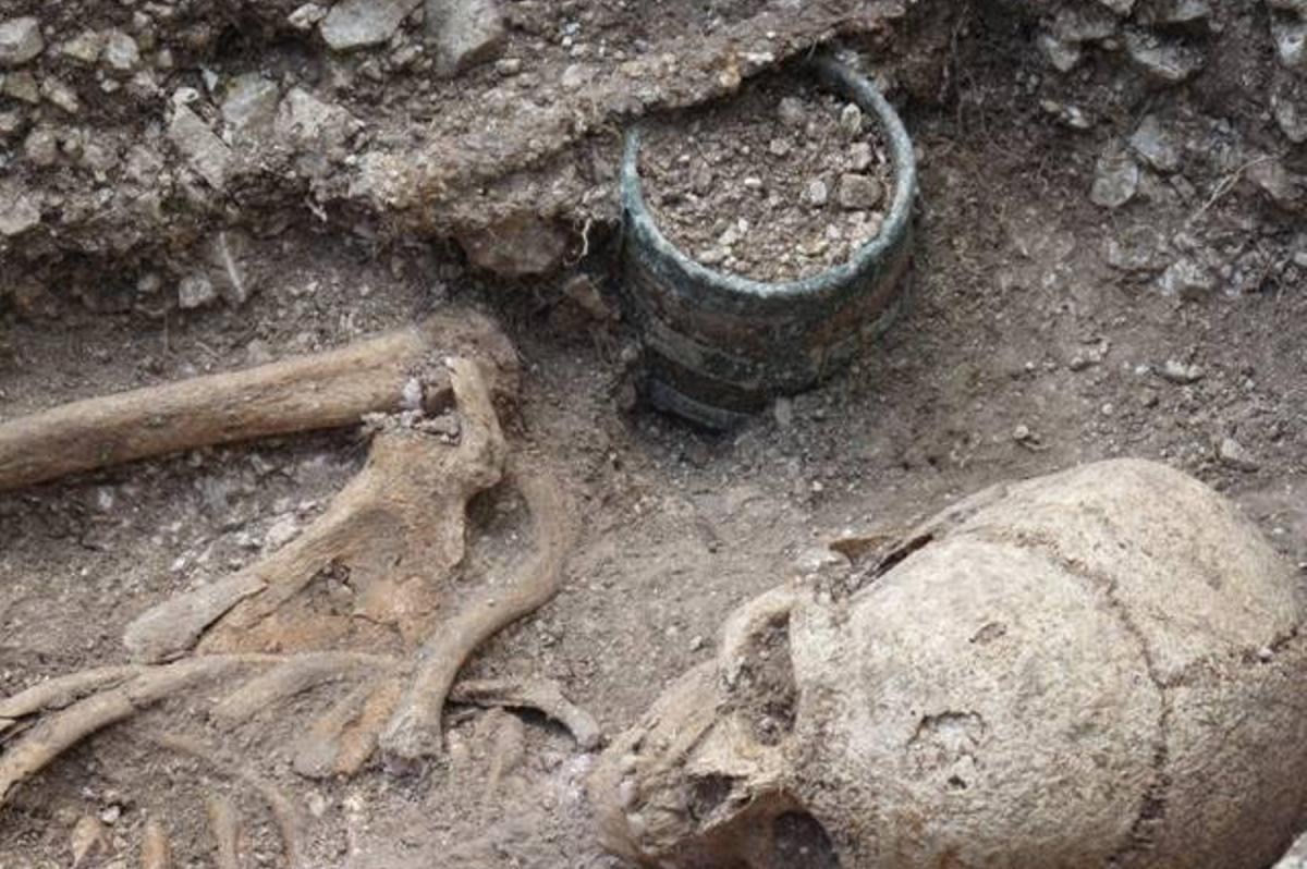 Anglo-Saxon bucket from Barrow Clump during excavation