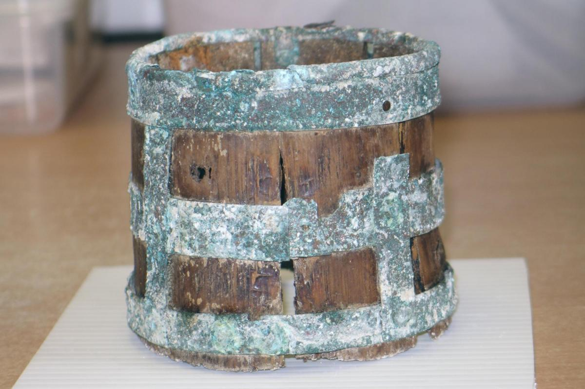 Anglo-Saxon bucket from Barrow Clump after conservation