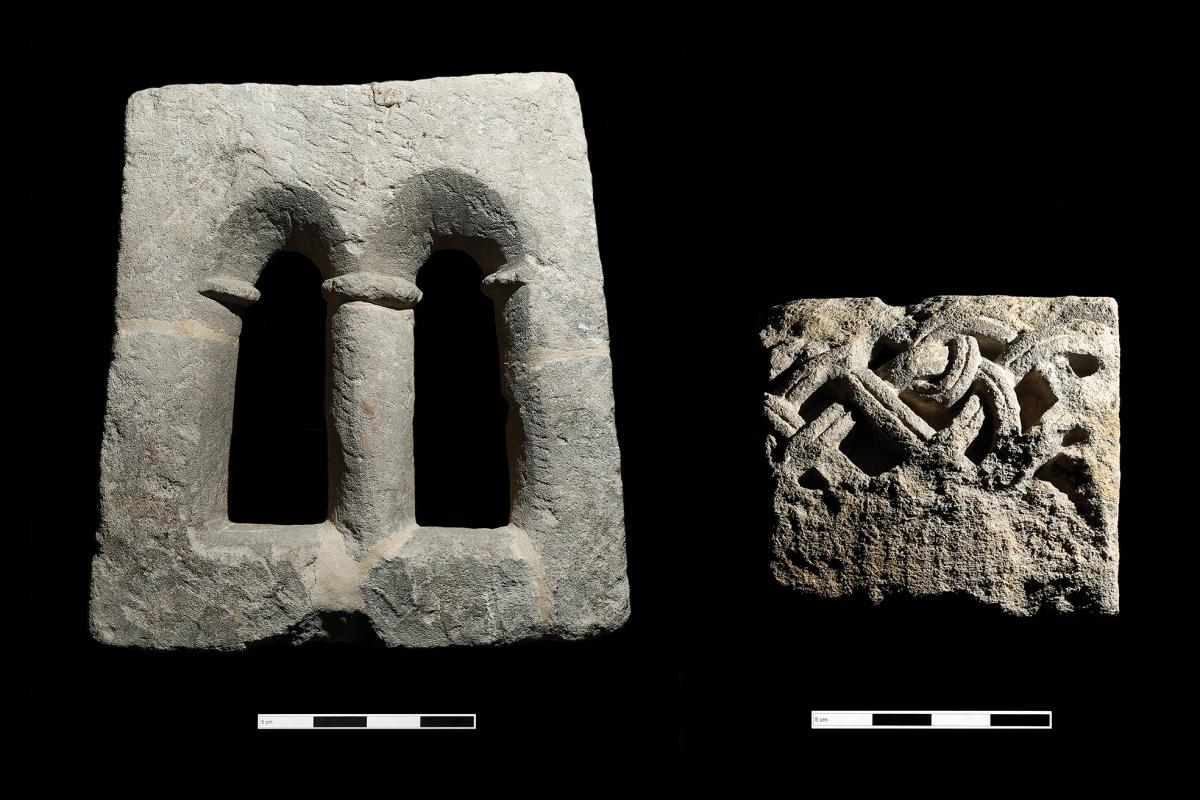 Worked stone from windows of the Anglo-Saxon Monastery at Bath
