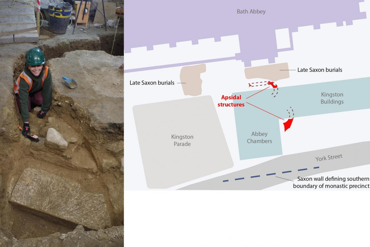 Excavation of the apse beneath Abbey Chambers, inside Bath Abbey
