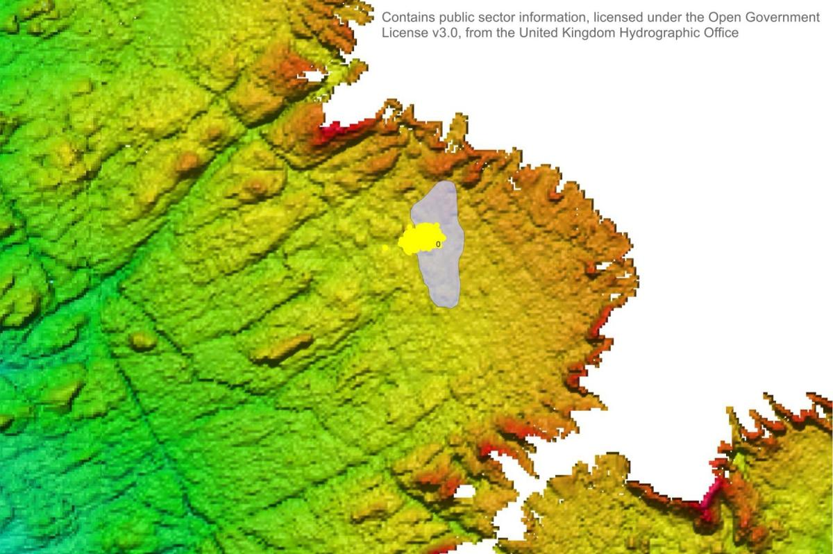Bathymetry of the seabed showing area searched