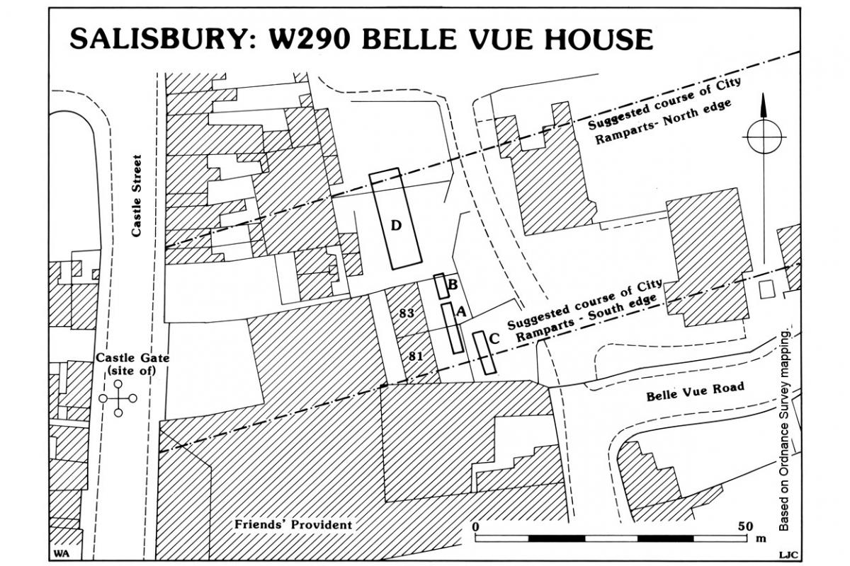 Location of excavations at Belle Vue House