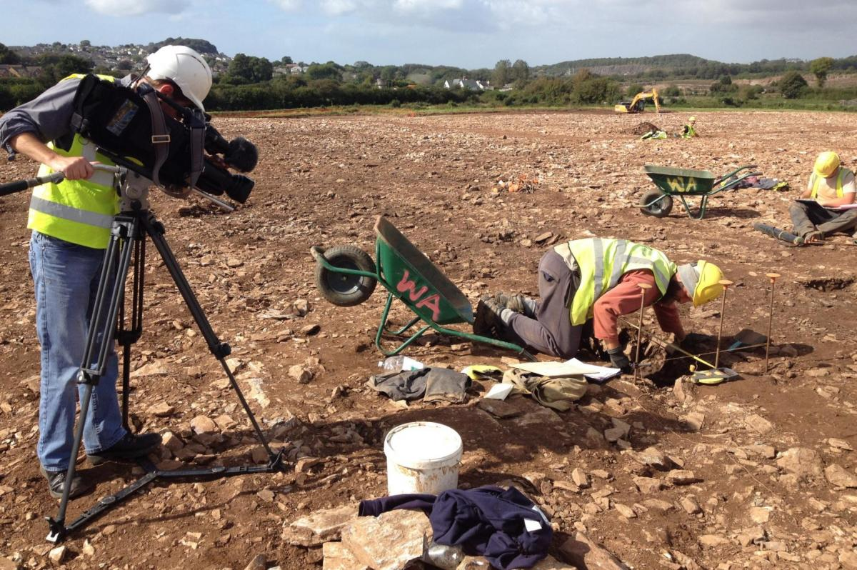 Filming work at Sherford during excavation work