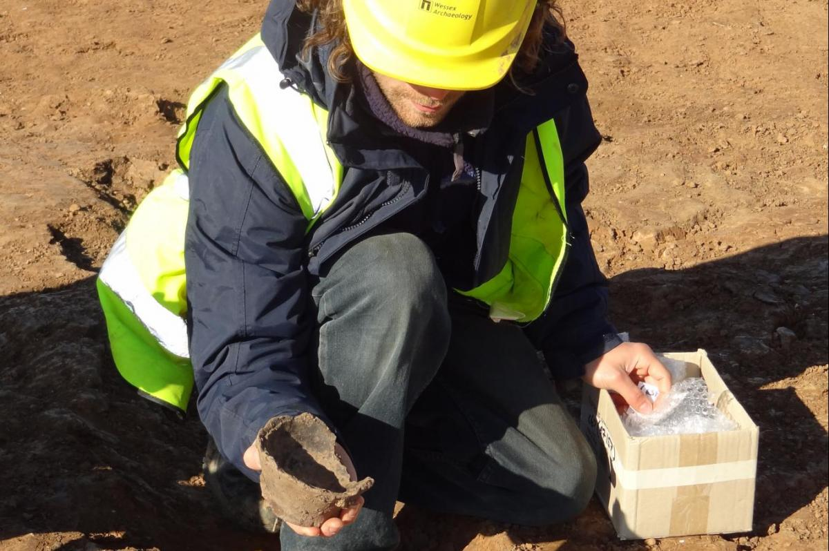 Pottery found during excavation work at Humber
