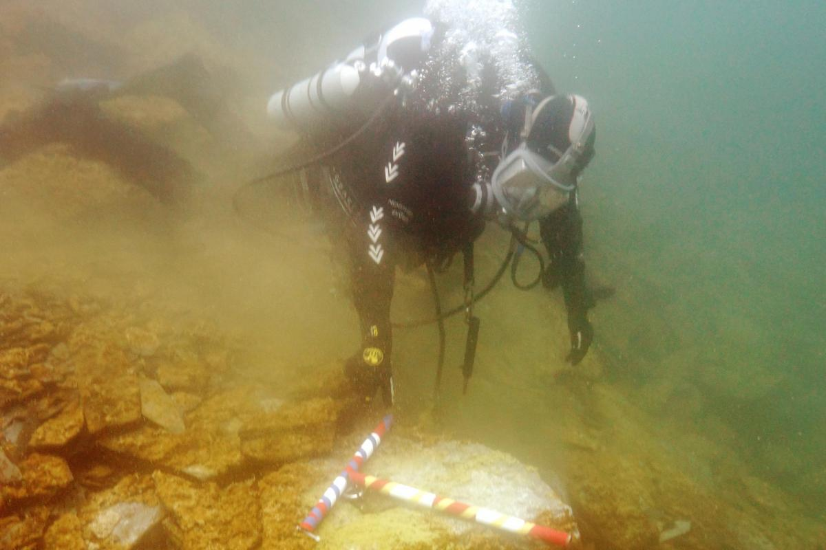 Diver working on the Belnahua Quarries underwater site