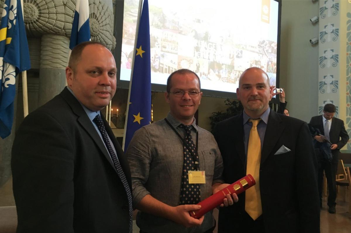 receiving the Europa Nostra award